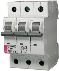 Автоматичний вимикач ETI Etimat 6, 3р, 2А, C