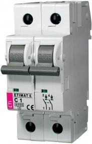 Автоматичний вимикач ETI Etimat 6, 2р, 1А, C
