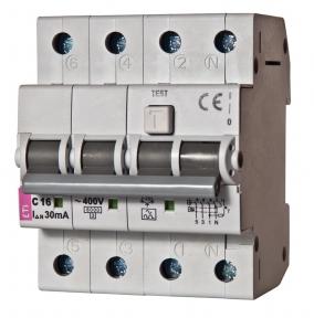 Диференційний автоматичний вимикач ETI KZS-4M, 4р, 6А, 30mA тип АС кат.С