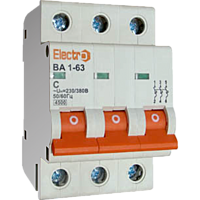 Автоматичний вимикач Electro ВА1-63, 3р, 1А, C