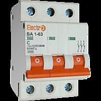 Автоматичний вимикач Electro ВА1-63, 3р, 1.6А, C