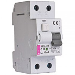 Диференційний автоматичний вимикач ETI KZS-2M, 2р, 6А, 300mA тип А, кат.С