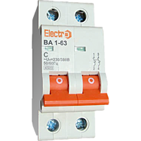Автоматичний вимикач Electro ВА1-63, 2р, 1.6А, C