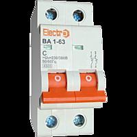 Автоматичний вимикач Electro ВА1-63, 2р, 3А, C