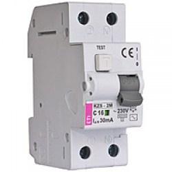 Диференційний автоматичний вимикач ETI KZS-2M, 2р, 6А, 30mA тип АС, кат.В