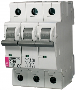 Автоматичний вимикач ETI Etimat 6, 3р, 1А, C