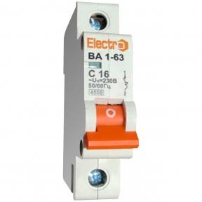 Автоматичний вимикач Electro ВА1-63, 1р, 1.6А, C
